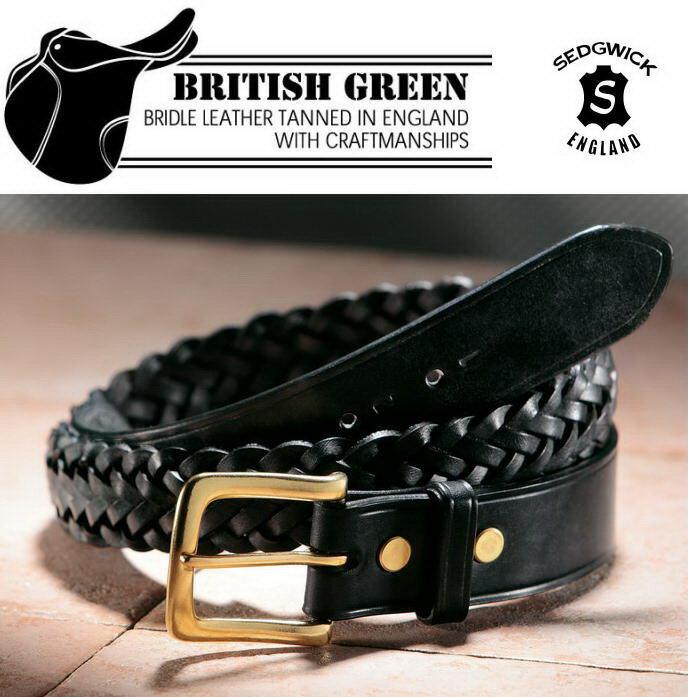 BRITISH GREEN ブライドルレザーメッシュベルト 69280