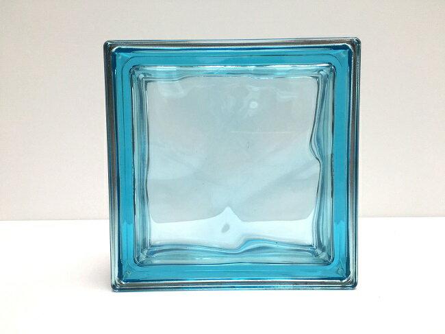 NEW!ガラスブロック【メタリックスタイル】/マリーンブルー色/90個セット商品(W190×H190×D80mm)【イタリア製ガラスブロック】