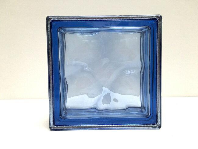 NEW!ガラスブロック【メタリックスタイル】/コバルトブルー色/80個セット商品(W190×H190×D80mm)【イタリア製ガラスブロック】