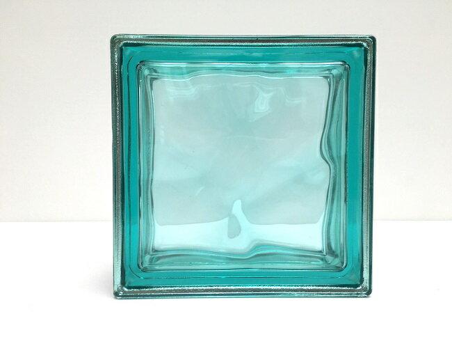 NEW!ガラスブロック【メタリックスタイル】/ターコイズ色/80個セット商品(W190×H190×D80mm)【イタリア製ガラスブロック】