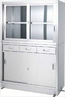 シンコー ステンレス保管庫引出付上部ガラス戸下部ステンレス戸ベース仕様 VDG15060