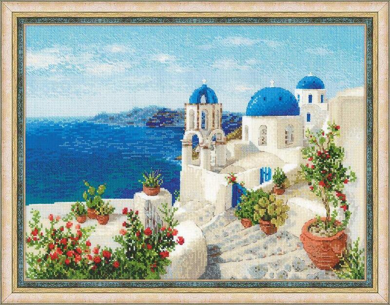RIOLISクロスステッチ刺繍キット No.1644 「Santorini」 (サントリーニ島 ギリシャ)