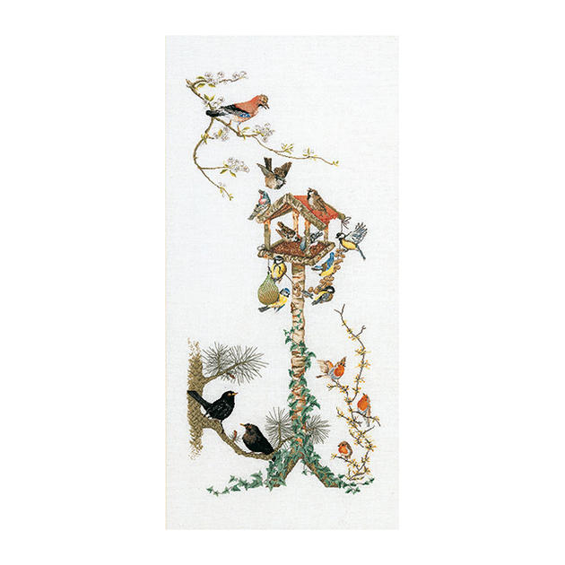 Thea Gouverneur クロスステッチ刺繍キット No.1065 「Bird Table」(野鳥のえさ台)  オランダ テア・グーヴェルヌール 【取り寄せ/納期40~80日程度】