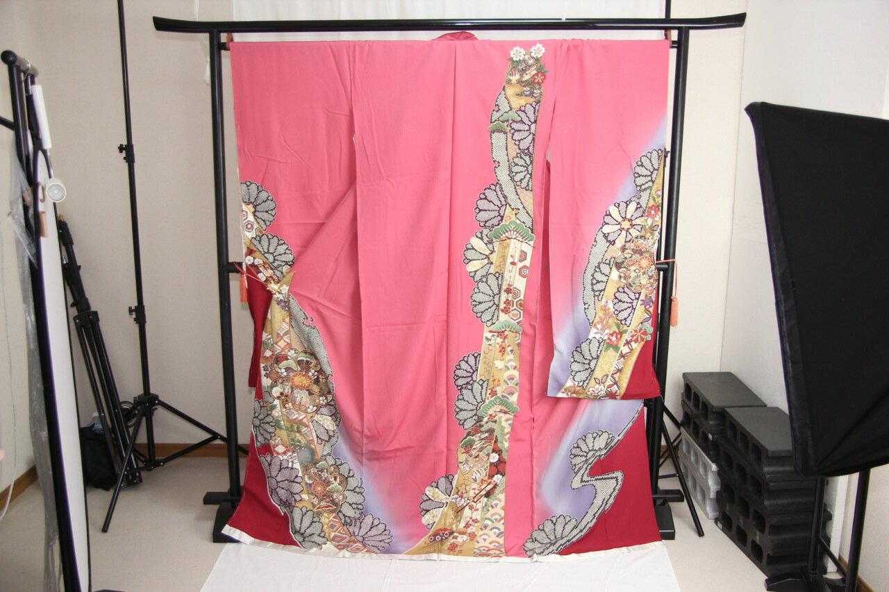 訳あり店舗キャリー在庫 【正絹振袖】 ピンク×赤紫(菊・楓・松・巻物) 成人式 着付け お稽古