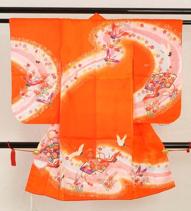 【訳あり/三つ身祝着】七五三着物(オレンジ・扇面 つる) 三ツ身 長襦袢 仕立上り 正月 晴れ着 お祝い 着物 かわいい メール便不可