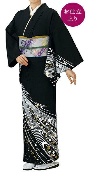 踊り衣裳 お仕立上り着物 谷印 シルク加工絵羽 黒(白・金柄) 取り寄せ商品 日本の踊り 掲載 踊り絵羽 稽古 習い事 舞踊 民謡 発表会《女性用 レディース 洗える着物》金箔のあしらいが高級感のあるお着物です。 ポイン