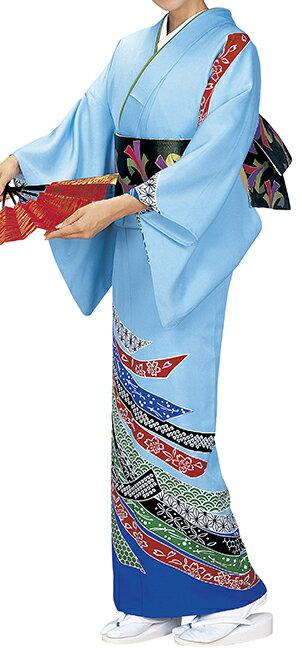 踊り衣裳 反物 徳印 一越本絵羽 水色 取り寄せ商品 日本の踊り 掲載 踊り絵羽 稽古 習い事 舞踊 民謡 発表会《女性用 レディース 洗える着物》鮮やかな朱色の差し色がアクセントに。 ポイント20倍 ポイント20倍