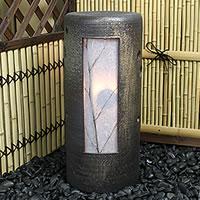 敬老の日 信楽焼風の水琴洞夢!陶器照明と風鈴がコラボ!水琴窟の音色と陽炎が幻想的な空間を!水きんくつ/陶器/あんどん/和風 /インテリア/庭園灯/陶器照明しがらき/やきもの/[ak-0062]