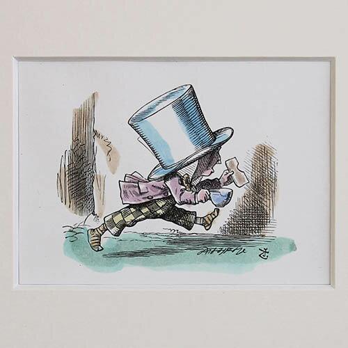 アンティーク額絵不思議の国のアリスハンドカラー 帽子屋額絵