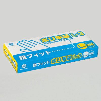 福助工業 ポリ手袋 指フィットタイプ L-3 (3,000枚)