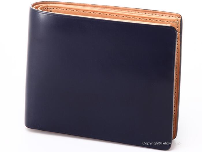 低価格で大人気 イルブセット 財布 Il bussetto 11-007 ネイビー 小銭入れ付き二つ折り財布