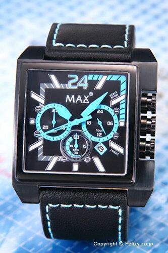MAX XL WATCHES マックス メンズ 腕時計 Grandprix Square (グランプリ スクエア) オールブラック×ライトブルー 5-MAX526 【マックス 時計】【あす楽】