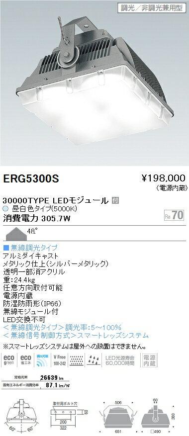ERG5300S 遠藤照明 施設照明 LED防水・防塵高天井用シーリングライト HIGH-BAYシリーズ 水銀ランプ700W器具相当 30000lmタイプ 無線調光対応 昼白色