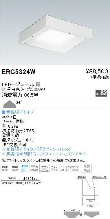 ERG5324W 遠藤照明 施設照明 LED防湿・防塵高天井用シーリングライト HIGH-BAYシリーズ メタルハライドランプ250W器具相当 10000lmタイプ 無線調光対応 昼白色