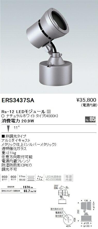 ERS3437SA 遠藤照明 施設照明 LEDアウトドアスポットライト Rsシリーズ Rs-12 11°非調光 ナチュラルホワイト