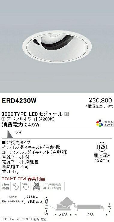 ERD4230W 遠藤照明 施設照明 LEDユニバーサルダウンライト ARCHIシリーズ 3000タイプ CDM-T 70W器具相当 広角配光29° 非調光 アパレルホワイト Ra95 白色