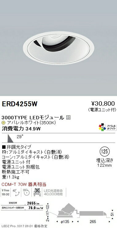 ERD4255W 遠藤照明 施設照明 LEDユニバーサルダウンライト ARCHIシリーズ 3000タイプ CDM-T 70W器具相当 広角配光29° 非調光 アパレルホワイト Ra95 温白色