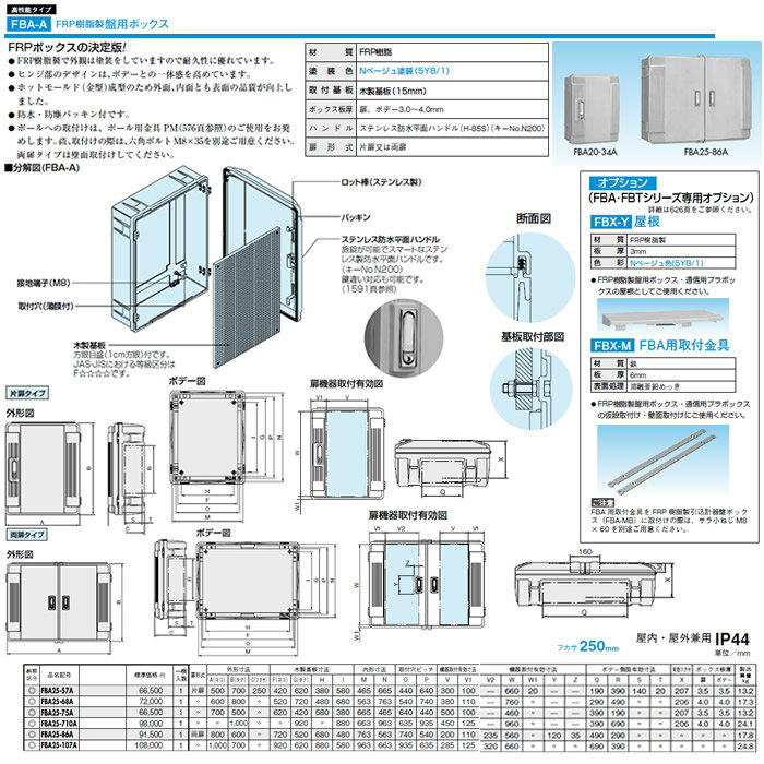 FBA25-107A 日東工業 プラボックス 高性能タイプ FRP樹脂製盤用ボックス 屋内・屋外兼用 フカサ250mm