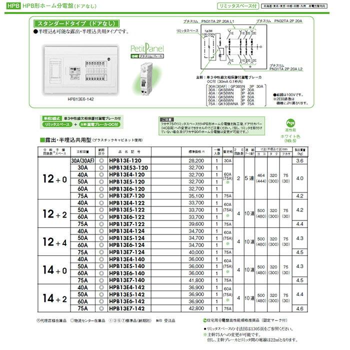 HPB13E6-120 日東工業 ホーム分電盤 HPB形ホーム分電盤 ドアなし リミッタスペース付 スタンダードタイプ 露出・半埋込共用型