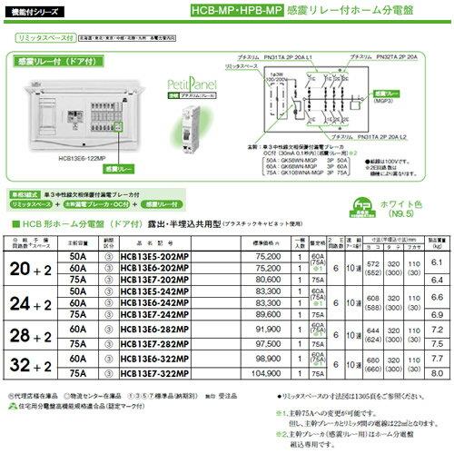 HCB13E6-322MP 日東工業 ホーム分電盤 機能付シリーズ 感震リレー付ホーム分電盤 リミッタスペース付 HCB形ホーム分電盤 ドア付 露出・半埋込共用型