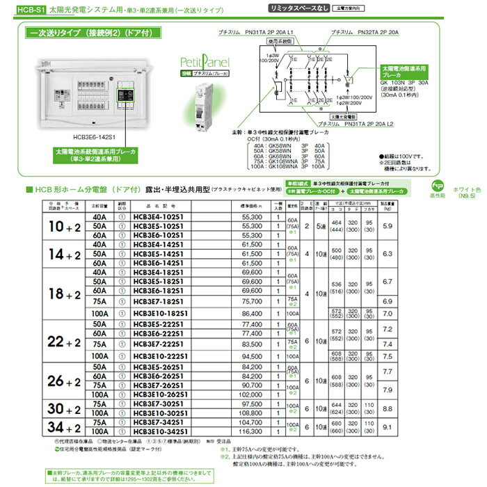 HCB3E10-262S1 日東工業 ホーム分電盤 機能付シリーズ 太陽光発電システム用ホーム分電盤 単3・単2連系兼用 リミッタスペースなし HCB形ホーム分電盤 ドア付 露出・半埋込共用型