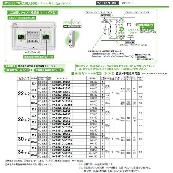 HCB3E10-342S3 日東工業 ホーム分電盤 機能付シリーズ 太陽光発電システム用ホーム分電盤 リミッタスペースなし HCB形ホーム分電盤 ドア付 露出・半埋込共用型