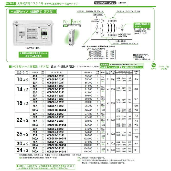 HCB3E7-302S1 日東工業 ホーム分電盤 機能付シリーズ 太陽光発電システム用ホーム分電盤 単3・単2連系兼用 リミッタスペースなし HCB形ホーム分電盤 ドア付 露出・半埋込共用型
