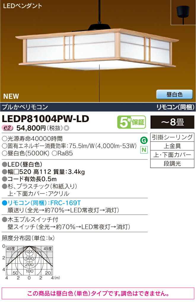 東芝ライテック 照明器具和風照明 プルかべリモコン LEDペンダントライト雅角 昼白色・段調光LEDP81004PW-LD【~8畳】
