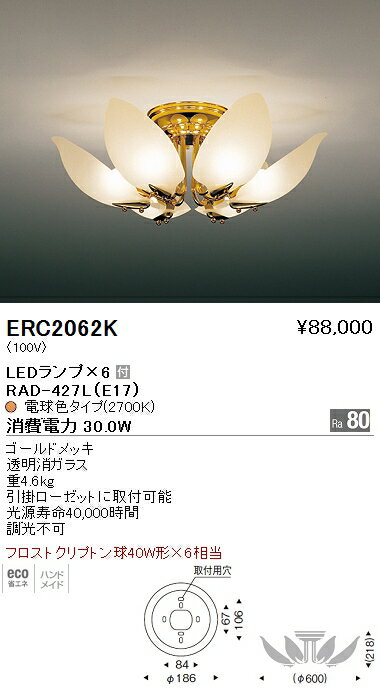 遠藤照明 照明器具LEDシャンデリアライト フロストクリプトン球40W形×6相当ERC-2062K