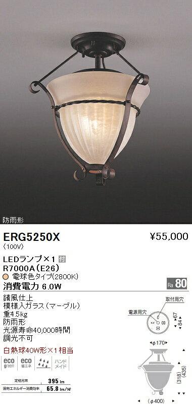 遠藤照明 照明器具LEDシーリングライト 白熱球40W形×1相当ERG-5250X