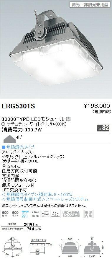 遠藤照明 施設照明LED防水・防塵高天井用シーリングライト HIGH-BAYシリーズ水銀ランプ700W器具相当 30000lmタイプ 無線調光対応 ナチュラルホワイトERG5301S