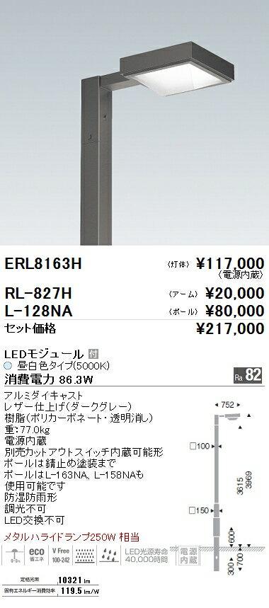 安心の正規品 遠藤照明 施設照明LEDアウトドアライト ポール灯灯体のみ メタルハライドランプ250W×2灯相当 10000lmタイプ 非調光 昼白色ERL8163H