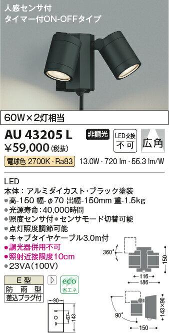 コイズミ照明 照明器具アウトドアライト LEDスポットライト 人感センサ付タイマー付ON-OFFタイプ白熱球60W×2灯相当 電球色 非調光 広角AU43205L
