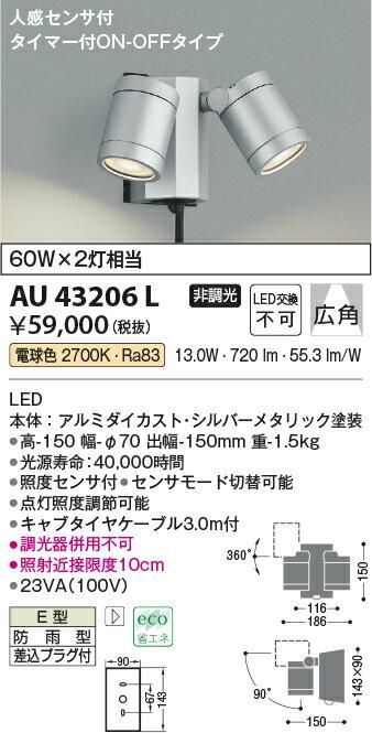 コイズミ照明 照明器具アウトドアライト LEDスポットライト 人感センサ付タイマー付ON-OFFタイプ白熱球60W×2灯相当 電球色 非調光 広角AU43206L