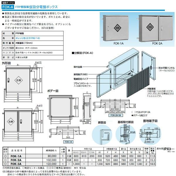 日東工業 プラボックス 仮設ボックスFRP樹脂製仮設分電盤ボックス屋根つき 屋外用 FOK-2A