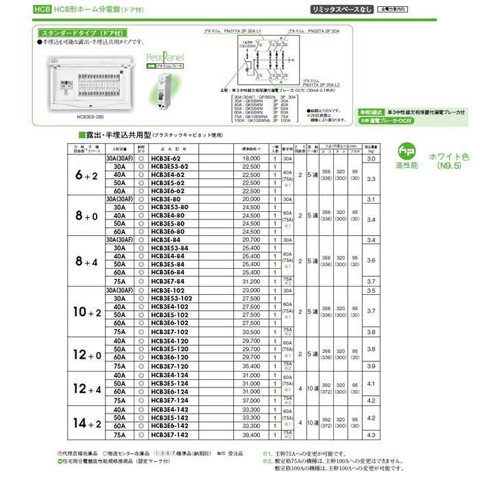 日東工業 ホーム分電盤HCB形ホーム分電盤 ドア付リミッタスペースなし スタンダードタイプ露出・半埋込共用型 HCB3E6-120