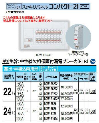 パナソニック Panasonic 電設資材住宅分電盤・分電盤スッキリパネル コンパクト21BQW86222