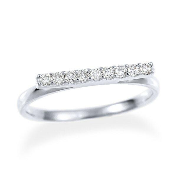 ポイント10倍 ~10/10(火)9:59までK18ホワイトゴールドダイヤモンドリング ジオメトリー