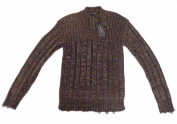 メンズ ドルチェ&ガッバーナ 編み込み カシミアセーター ブラウン 50