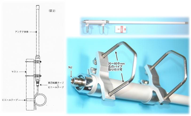 【48103】1/2λ、12段GP 超高感度無指向性屋外用防水アンテナ