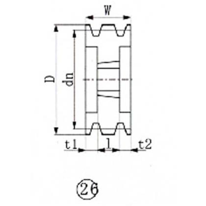 EVN ブッシングプーリー SPC 250mm 溝数6   SPC250-6