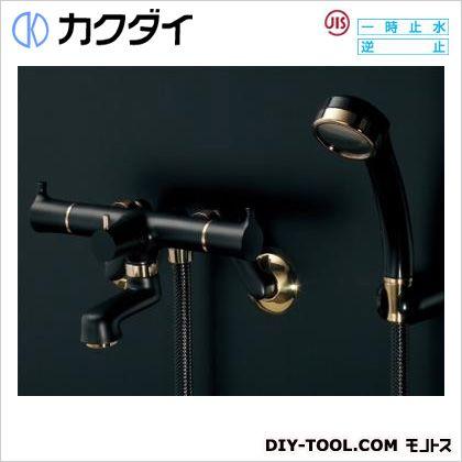 カクダイ 2ハンドルシャワー混合栓(一時止水・マットブラック) (139-022)