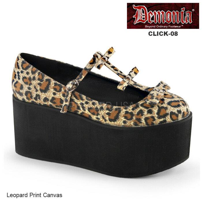 DEMONIA(デモニア) 厚底パンプス キャンバス素材 CLICK-08 レオパード 豹柄◆取り寄せ