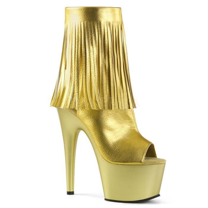 厚底ブーツ Pleaser(プリーザー) フリンジ付き 編み上げ アンクルブーツ ADORE-1019 ゴールド レディース 靴 送料無料 ◆取り寄せ