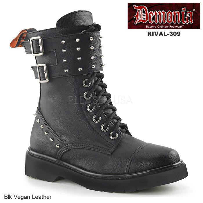 DEMONIA(デモニア) レディース 編み上げブーツ コンバットブーツ RIVAL-309 ブラック◆取り寄せ