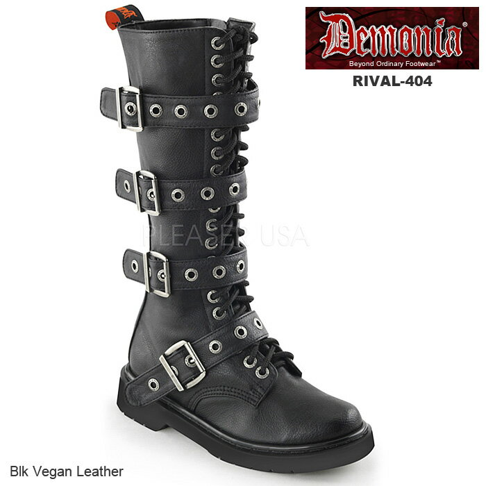 DEMONIA(デモニア) レディース 編み上げブーツ コンバットブーツ RIVAL-404 ブラック◆取り寄せ