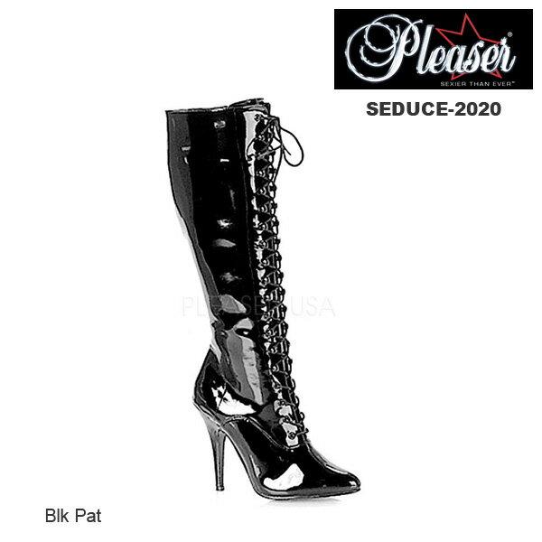 Pleaser ブーツ 黒 編み上げ/レースアップブーツ コスプレブーツ エナメル黒 SEDUCE-2020-BLKPAT◆取り寄せ