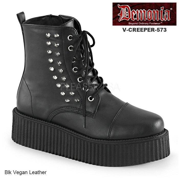 DEMONIA(デモニア) Men's/Unisex クリーパーブーティ 厚底靴 V-CREEPER-573 マットブラック◆取り寄せ