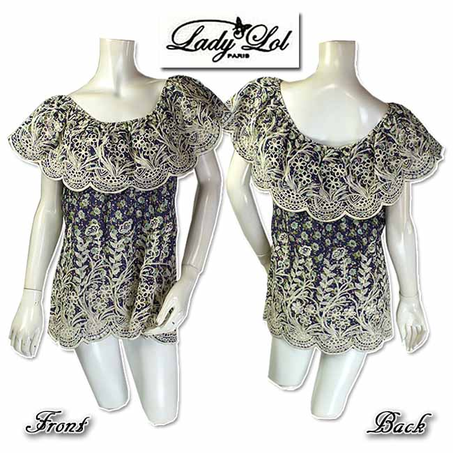 【価格見直し】フランス Lady'Lol フラワー カットワーク刺繍が綺麗なブラウス サイズT2【当初税抜11481】【新着商品】