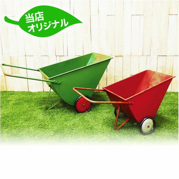 【送料無料】 手押し車 グリーン SHIE-1604 / プランター おしゃれ ブリキ